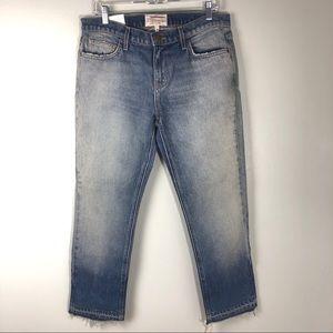 Current/Elliot Cropped Frayed Hem Blue Jeans